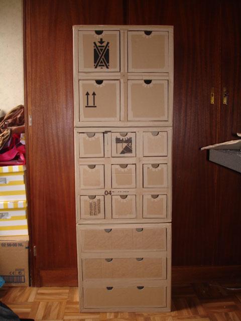 meuble en carton hubi r alis par evelyne 76 partir d 39 un patron de l 39 atelier chez soi home. Black Bedroom Furniture Sets. Home Design Ideas